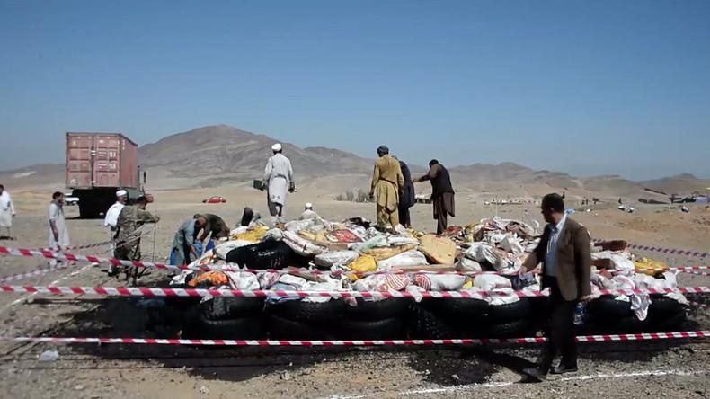 13-ton bonfire of drugs set ablaze in Afghanistan (VIDEO)