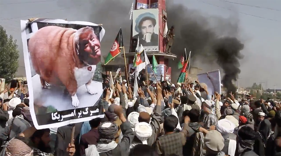 'Ready for jihad': Afghans protest near Bagram Airbase to denounce 'offensive' US leaflets (VIDEO)