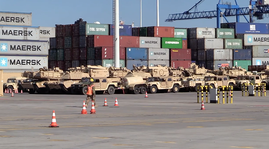 US brings tanks & other hardware to Poland for 'counter-Russia' operation (VIDEO)