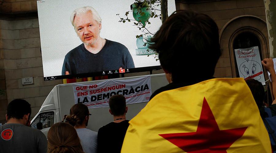 Assange accuses Spain of conducting 'world's first internet war' to shut down Catalan referendum
