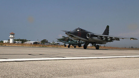 Russian Su-25s take off at the Hmeimim base in Syria © Dmitriy Vinogradov