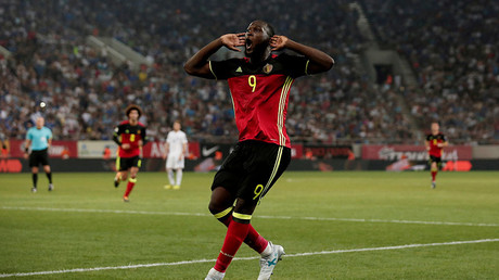 Greece vs Belgium - Athens, Greece - September 3, 2017 Belgium's Romelu Lukaku celebrates scoring their second goal. © Alkis Konstantinidis