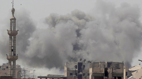 FILE PHOTO: Smoke rises after an air strike during fighting between members of the Syrian Democratic Forces and Islamic State militants in Raqqa, Syria. © Zohra Bensemra