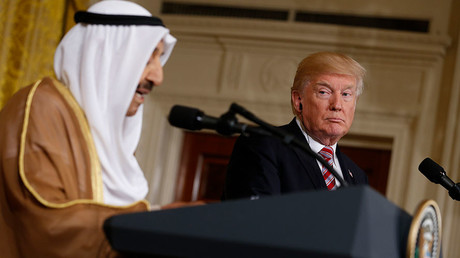 US President Donald Trump (with Emir of Kuwait Sabah Al-Ahmad Al-Jaber Al-Sabah in the East Room of the White House in Washington, US, September 7, 2017 © Jonathan Ernst