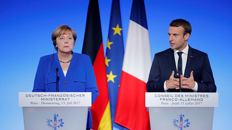 French President Emmanuel Macron and German Chancellor Angela Merkel © Stephane Mahe
