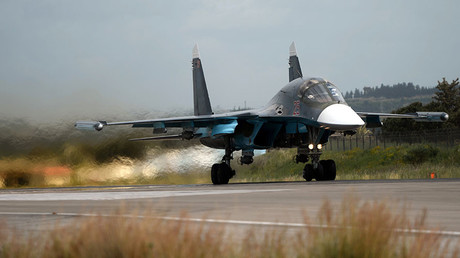A Russian Su-34 fighter aircraft takes off from the Hmeimim airbase in Syria © Maksim Blinov