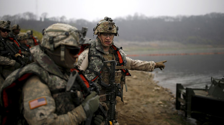 FILE PHOTO US army soldiers take part in U.S.-South Korea joint river-crossing exercise near demilitarized zone separating two Koreas in Yeoncheon, South Korea © Kim Hong-Ji