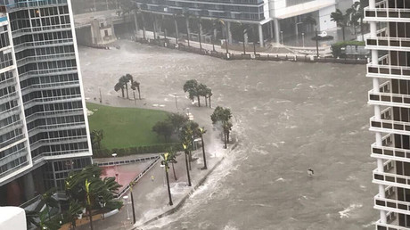 Looks like an ocean: Miami's 'Wall Street of the South' underwater following Irma pounding (VIDEOS)