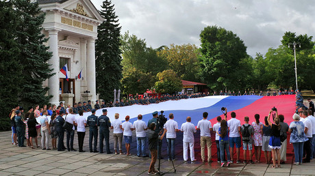 Celebrating Russian State Flag Day in Sevastopol, Crimea. © Vasiliy Batanov