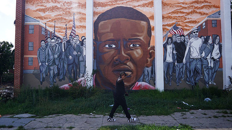 A mural of Freddie Gray at North Mount and Presbury streets in the Sandtown neighborhood of west Baltimore, August 8, 2017 © Mandel Ngan