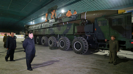 FILE PHOTO: North Korean leader Kim Jong Un inspects the intercontinental ballistic missile Hwasong-14. KCNA