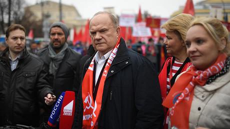 Communist Party leader Gennady Zyuganov at a Communist rally, Moscow. © Iliya Pitalev
