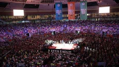 People attend a Catalan pro-independence meeting at Tarraco Arena in Tarragona, south of Barcelona, Spain September 14, 2017 © Albert Gea