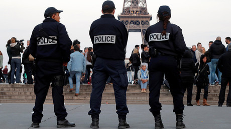 FILE PHOTO Police patrol at the Trocadero near the Eiffel Tower in Paris, France © Charles Platiau
