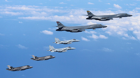 U.S. Air Force B-1B Lancer bombers fly with an escort of Japanese F-15 fighter jets and U.S. Marines' F-35B fighter jets. © Air Staff Office of the Defense Ministry of Japan
