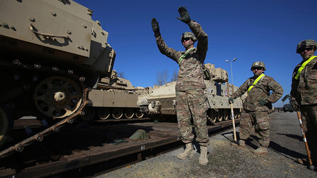 FILE PHOTO: US Army soldiers unload M1 Abrams tanks in Drawsko Pomorskie, Jankowo Pomorskie, northwestern Poland  © Cezary Aszkielowicz