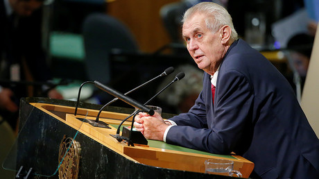Czech Republic President Milos Zeman addresses the 72nd United Nations General Assembly at U.N. headquarters in New York, U.S., September 19, 2017. © Eduardo Munoz