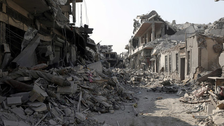 FILE PHOTO A view of a damaged site is seen in Raqqa © Rodi Said