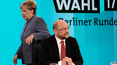 German Chancellor Angela Merkel, head of the Christian Democratic Party CDU and Social Democratic Party SPD leader and top candidate Martin Schulz © Gero Breloer