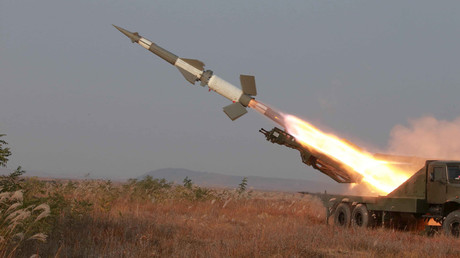 A rocket is fired during a drill by anti-aircraft units of the Korean People's Army © KCNA