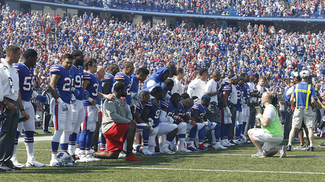Buffalo Bills players kneel in protest during the National Anthem before a game against the Denver Broncos at New Era Field. Sep 24, 2017; Orchard Park, NY, USA ©Reuters