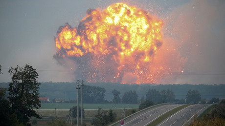 Evacuations & trail of destruction after inferno hits Ukrainian military depot