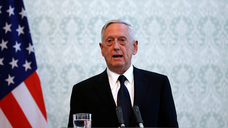 U.S. Defense Secretary James Mattis speaks during a news conference in Kabul, Afghanistan. September 27, 2017. © Omar Sobhani