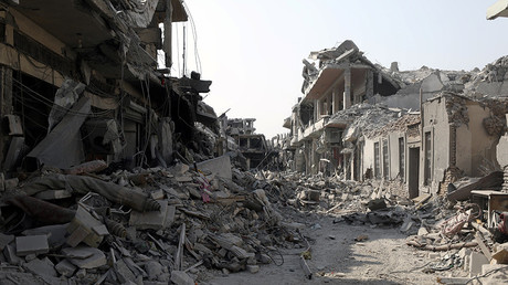 FILE PHOTO: A view of a damaged site is seen in Raqqa © Rodi Said