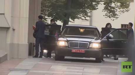 A still image taken from a video footage shows members of the North Korean delegation, who arrived for talks in Moscow, on September 29, 2017
