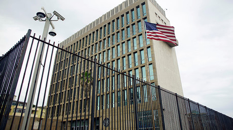 An exterior view of the U.S. Embassy is seen in Havana, Cuba © Alexandre Meneghini