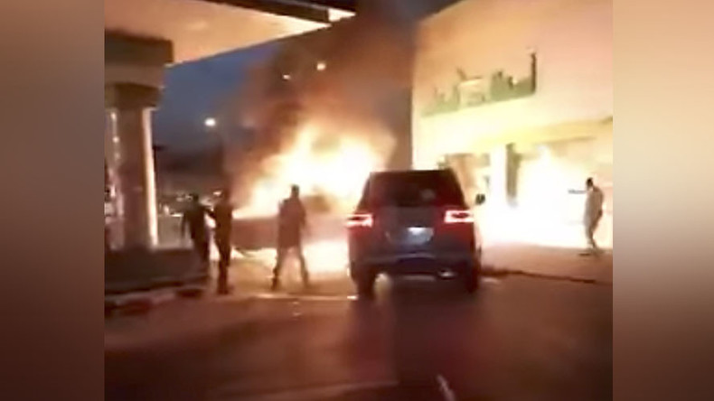 Blazing vehicle threatens to engulf gas station in stomach-churning video