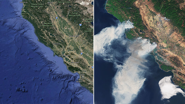 Satellite Images Show Devastating Extent Of California Wildfires - Earth map satellite