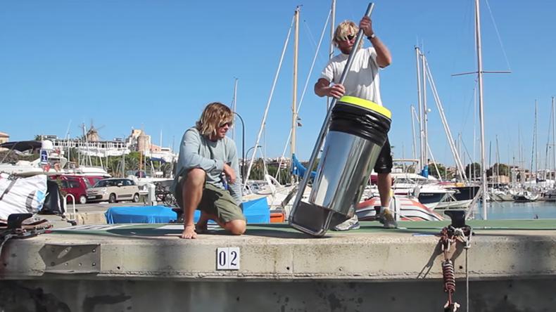 Floating trash bin gets to work on UK's south coast