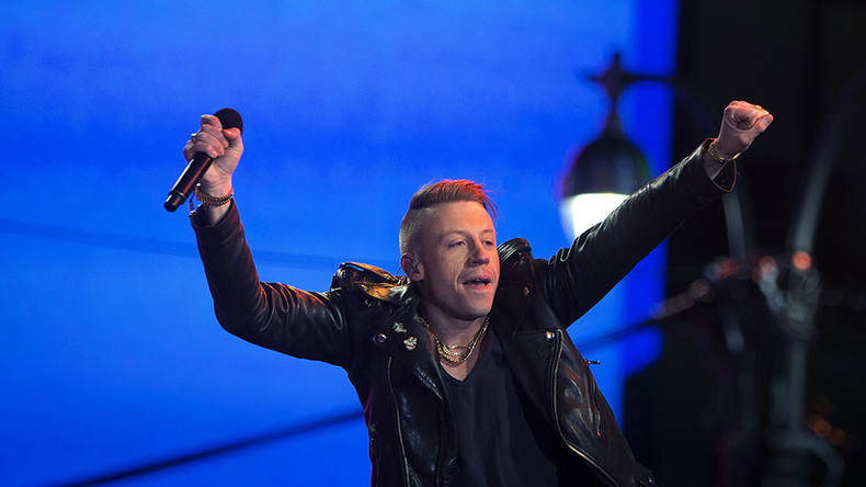 Macklemore calls for 'kindness & acceptance,' then leads crowd in 'F**k Donald Trump' chant