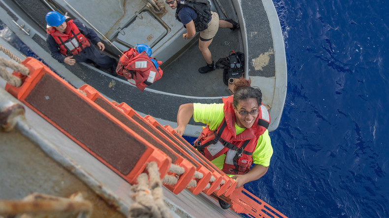 Two women & their dogs saved after months at sea by US Navy (VIDEO)