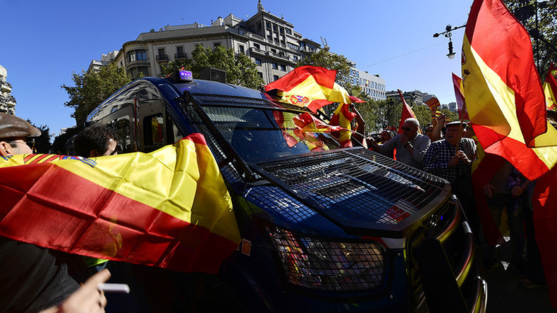Massive pro-unity demo in Barcelona marked by scuffles with police (VIDEO)