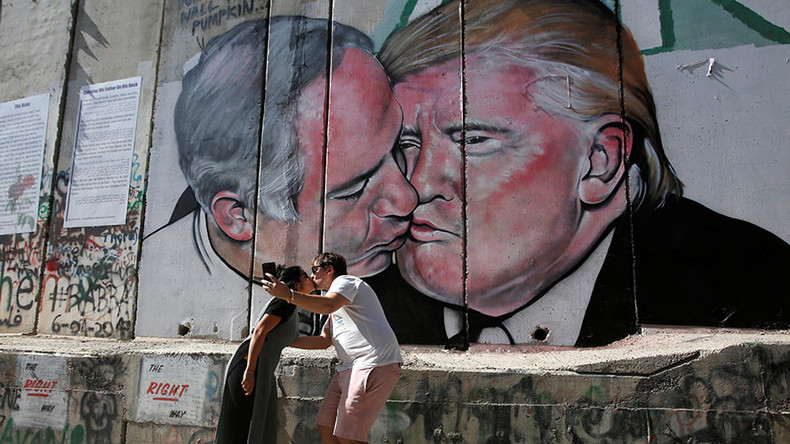 Kissing Trump & Netanyahu mural appears on West Bank wall