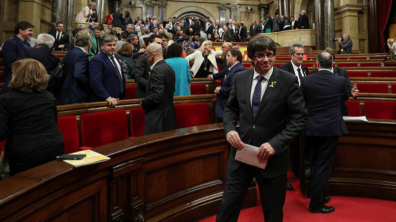 Puigdemont, Catalan ministers turn up in Brussels as Madrid sues them for rebellion