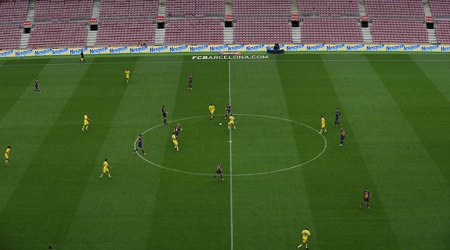 FC Barcelona plays in empty stadium as defiant Catalans go to polls despite crackdown