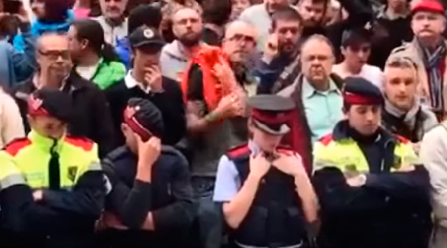 Catalan police in tears as they shield referendum voters from Civil Guard (VIDEOS)