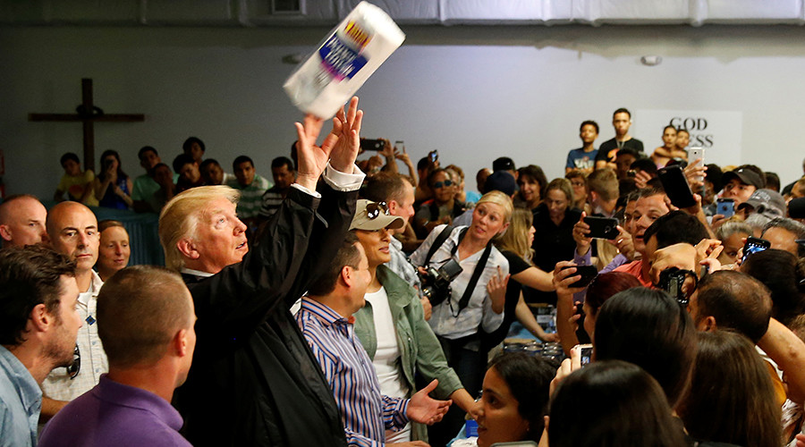 Trump tosses paper towels into crowd of Puerto Rico hurricane survivors (VIDEO)