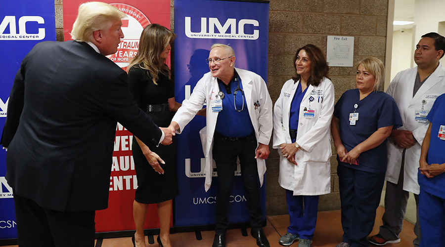 Las Vegas shooting victim stands when Pres. Trump visits him in hospital