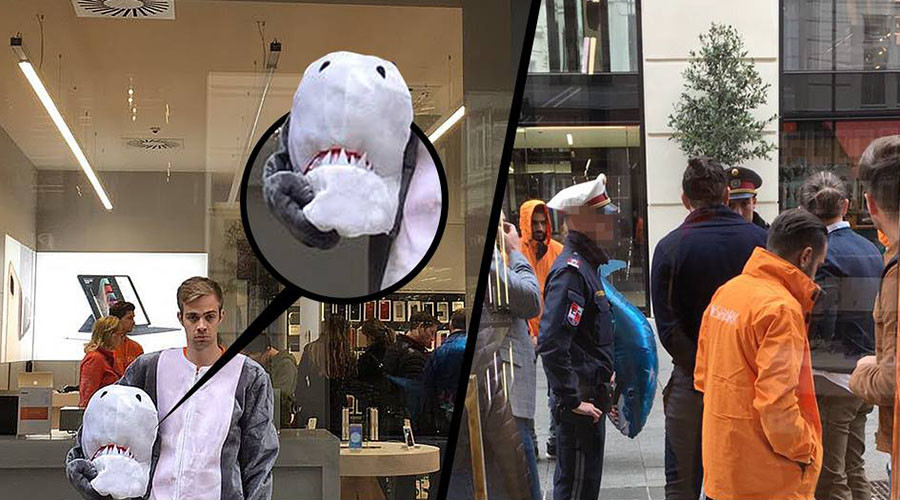 Man in shark suit warned under burka ban