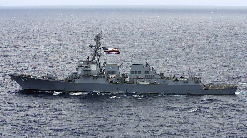 Navy Destroyer in South China Sea Near Islands Beijing Claims