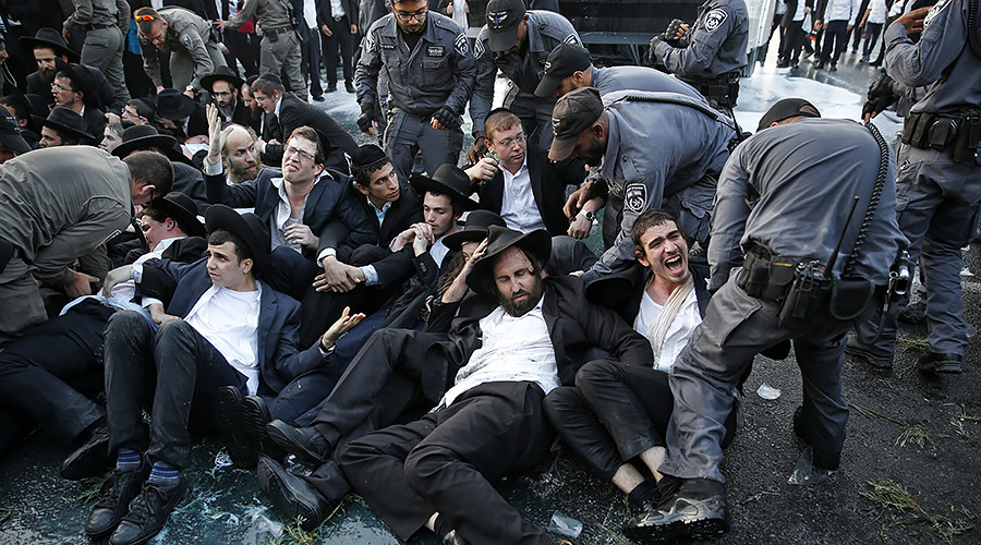 11 arrested, water cannon deployed as Orthodox Jews protest military draft in Jerusalem (VIDEO)