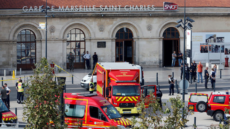 Emergency services vehicles are seen outside the Saint-Charles train station after French soldiers shot and killed a man who stabbed two women to death at the main train station in Marseille, France, October 1, 2017. © Jean-Paul Pelissier