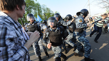 FILE PHOTO: Police detain March of Millions rally participants on Bolotnaya Square.