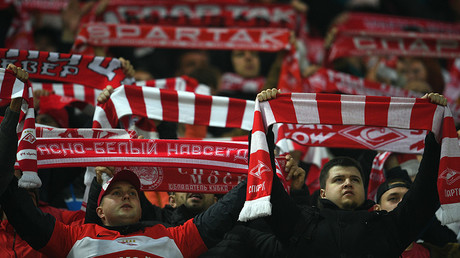 Spartak fans during the Russian Football Premier League's round 12 match between FC Spartak (Moscow) and FC Ural (Yeaterinburg). © Vladimir Astapkovich