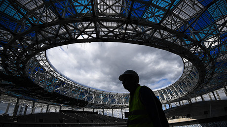 A worker at the construction of the Nizhny Novgorod football stadium.
