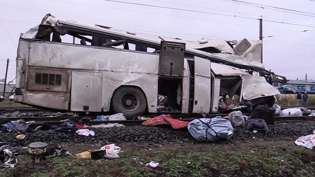 Bus-train collision kills 17 in Russia